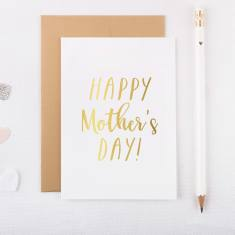 Silver or gold foil happy Mother's Day greeting card