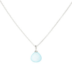 Silver Hooded Hera Pendant On Chain With Aqua Chalcedony