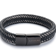 Black Leather and Wire Bracelet - Black Clasp
