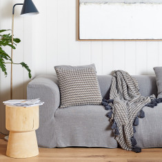 Alpha Textured Knit Cushion in Charcoal
