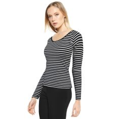 Black white stripe reversible stretch jersey top