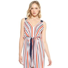 Paz stretch jersey v-neck front split  long maxi dress in red white navy stripe print