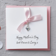 Silver Heart Charm Mother's Day Card