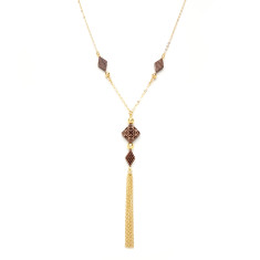 Square & diamond shaped beads necklace with tassel
