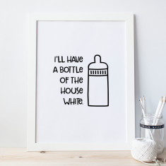 Bottle of house white baby print