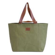 Washable Kraft Paper Shopper Tote Bag in Olive
