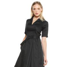Mardie 3/4 sleeve pleated A-line dress in black