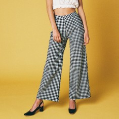 High waisted gingham pants