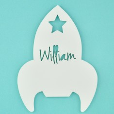 Monochrome Acrylic Personalised Kids' Rocket Bedroom Door Sign