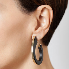 Riad ebony and gold hoop earrings