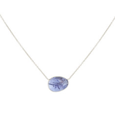 Pebble Central Stone Necklace With Tanzanite