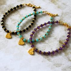 Gold vermeil heart charm bracelet