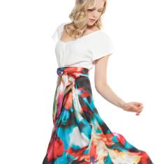 Sangria hi-lo silk midi wrap skirt in multi print