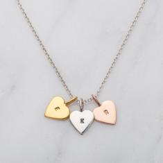 Personalised Tricolore Mini Heart Necklace