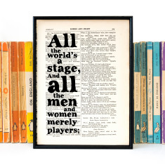 All the world's a stage Shakespeare quote print