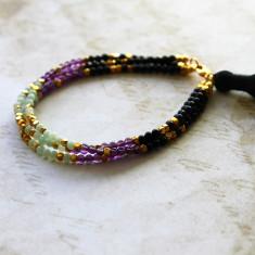 Multi strand semi-precious stone tassel bracelet