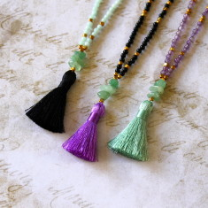 Children's semi-precious stone tassel necklace
