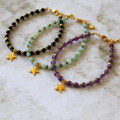 Gold vermeil star charm bracelet with semi-precious stones
