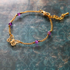 Gold plated butterfly charm bracelet