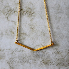 Gold vermeil chevron bar necklace