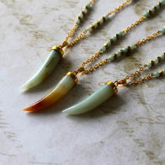Amazonite horn pendant necklace