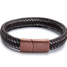 Brown Leather & Wire Bracelet - Chrome Clasp
