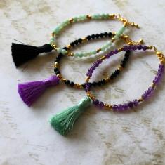 Semi-precious stone tassel bracelet