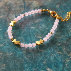 Semi-precious stone bracelet with butterfly charms