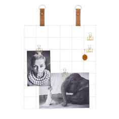 White Grid Mood Board with Biscuit Suede Straps