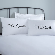 Personalised Mr & Mrs Pillowcases (various colours)