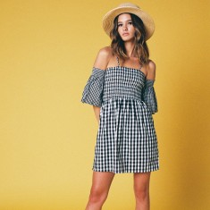 Flare sleeve gingham dress