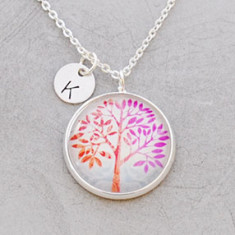 Personalised beautiful tree necklace in silver