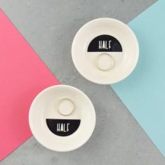 Couples Half & Half Wedding or Anniversary Porcelain Ring Dish