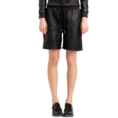 Women's black basketball lambskin leather shorts
