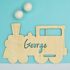 Personalised Kids' Train Bedroom or Nursery Door Sign or Art