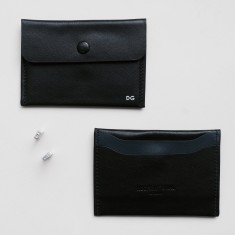 Card & coin leather holder with initials