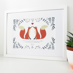 Foxes in Love Print