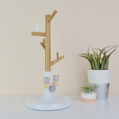 Wood And White Bird Jewellery Stand