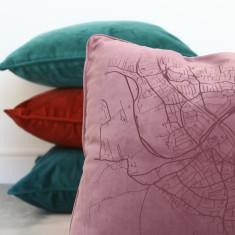 Velvet Personalised Map cushion