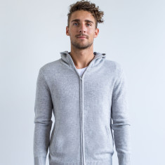 Calvin Zip Front Casual Hoodie In Grey