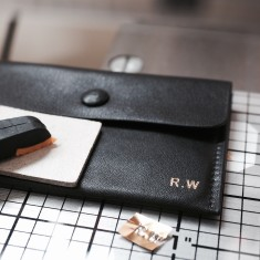 Personalised leather card + coin wallet