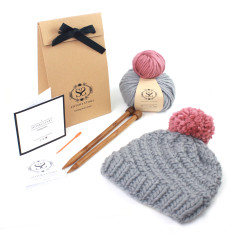 Beginners Pom Pom Hat DIY Knitting Kit