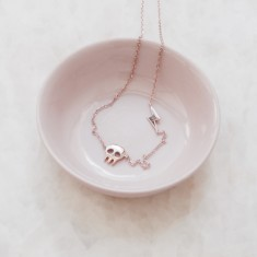Lightning bolt & skull necklace 18k rose gold vermeil