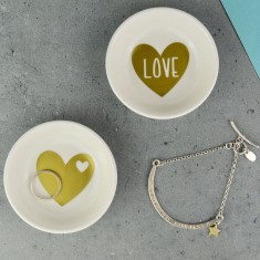 Love Heart Wedding or Anniversary Porcelain Ring Dish
