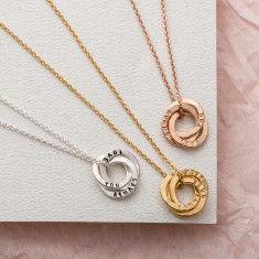 Personalised Mini Satin Hammered Trio Ring Necklace