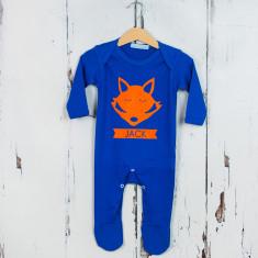 Personalised fox tail long sleeve onesie