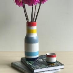 Stoneware Vase - Colourful Stripes