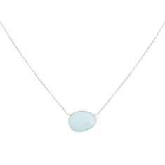 Pebble Central Stone Necklace With Aqua Chalcedony