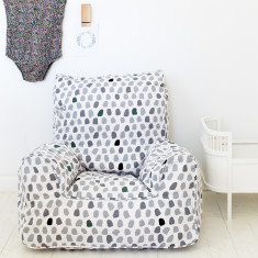 Paint Splotches - Grey and Green Bean Chair Cover