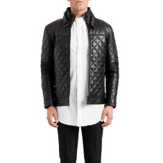Black maverick quilted leather jacket